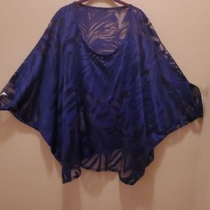 Lane Bryant Royal Blue Sheer Blouse Size 22 24